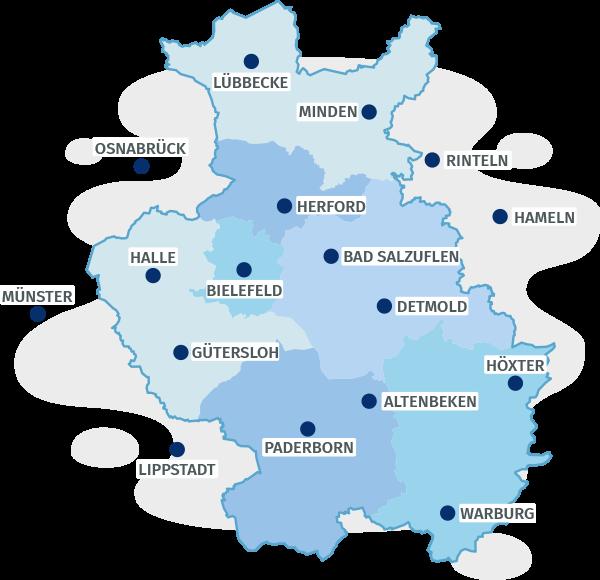 Karte Ostwestfalen-Lippe